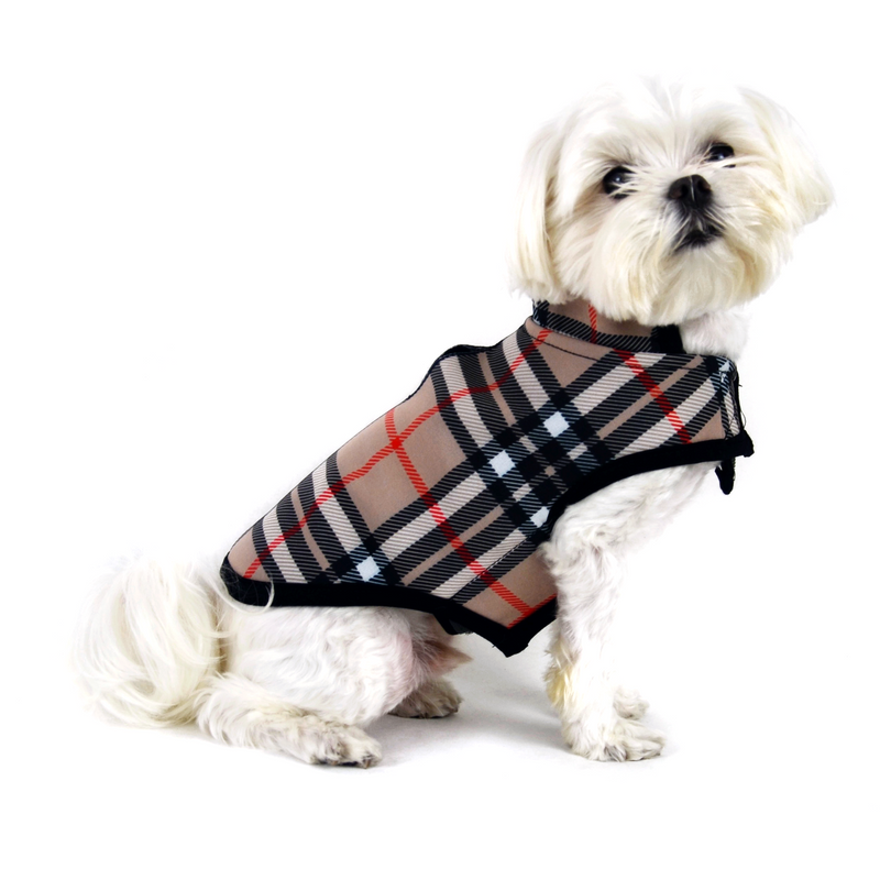 Tan Plaid Soft Shell Dog Jacket