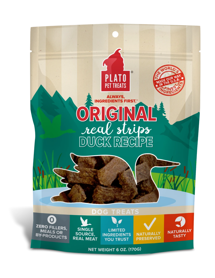 Plato Real Strips Duck Dog Treats