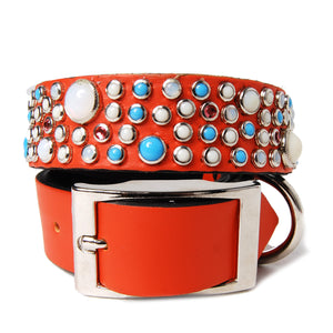 Mixed Stones on Orange Leather Dog Collar