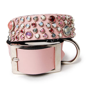 Mix Stones on Pink Leather Dog Collar