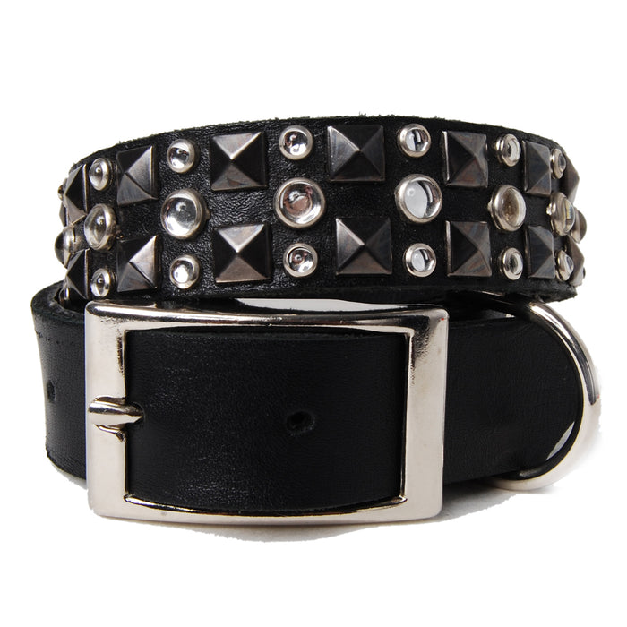 Metal Pyramids and Clear Stones on Black Leather Dog Collar