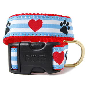 Paws and Hearts Striped Dog Collar