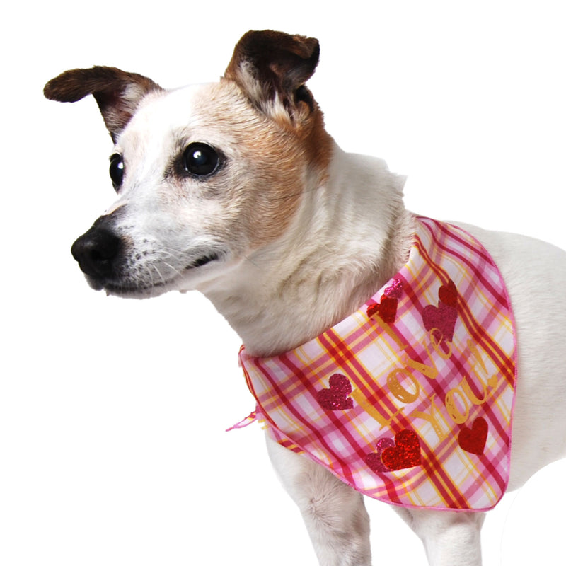 Pink Plaid I Love You! Dog Bandana - FINAL SALE