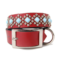 Turquoise and Silver Diamond Back on Red Leather Dog Collar