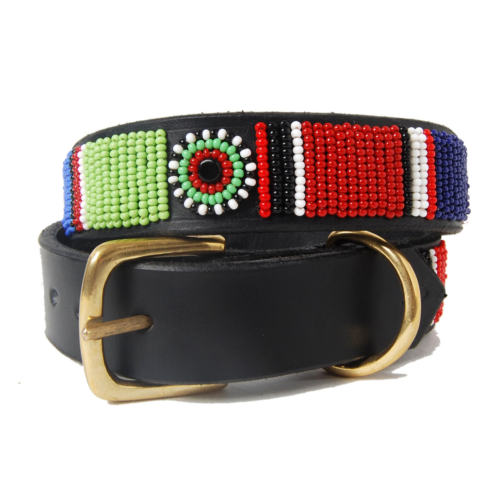 Beaded Horizontal Stripe Leather Dog Collar