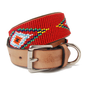 Red Diamond Beaded Leather Dog Collar