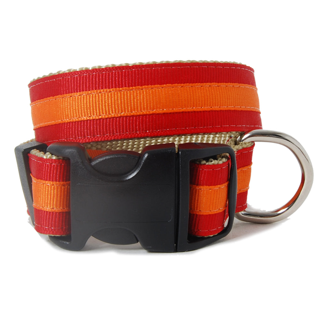 Red and Orange Stripe Dog Collar