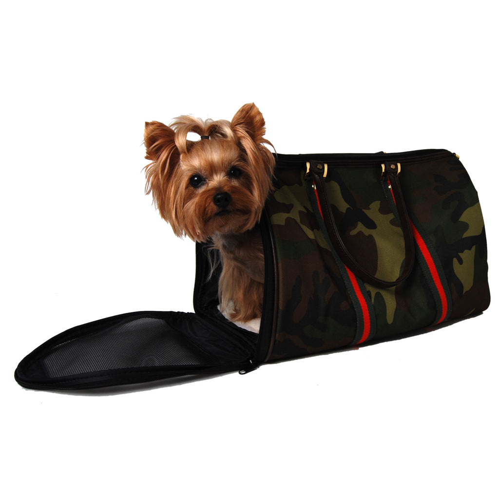Camouflage and Stripe Duffel Dog Carrier