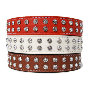 Crystallized Tuscany Leather Dog Collar
