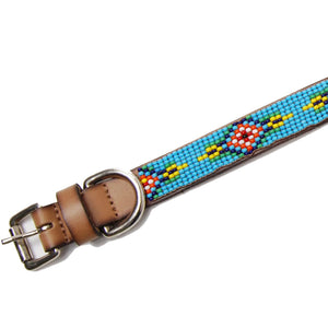Blue Diamond Beaded Leather Dog Collar