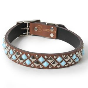 Silver and Turquoise Pyramids on Chestnut Leather Dog Collar