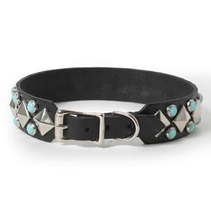 Silver Pyramids and Turquoise on Black Leather Dog Collar