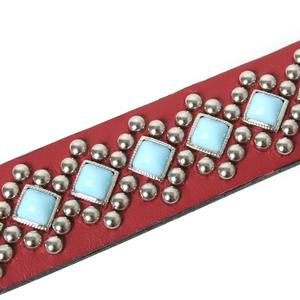 Turquoise and Silver Diamond Back Red Leather Dog Collar