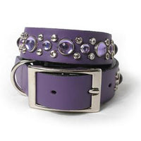 Lavender Crystal Leather Dog Collar