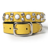 White Cabs and Clear Crystals on Yellow Leather Dog Collar