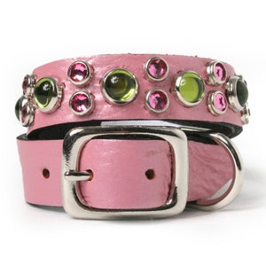 Green Cabs and Pink Crystals on Pink Leather Dog Collar