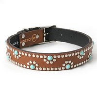 Turquoise Daisy on Chestnut Leather Dog Collar