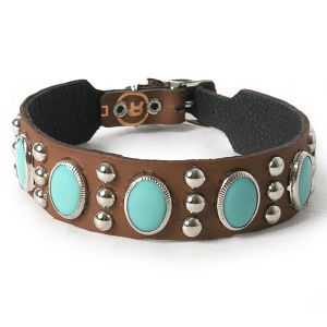 Turquoise Oval Cabs on Chestnut Leather Dog Collar