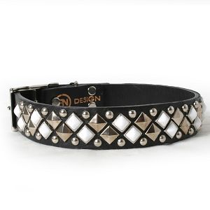 Silver and Chalk Pyramids and Studs on Black Leather Dog Collar