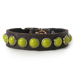 Retro Green on Chocolate Leather Dog Collar