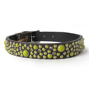 Green Cabs and Crystals on Chocolate Leather Dog Collar