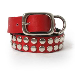 Silver Studs on Red Leather Dog Collar