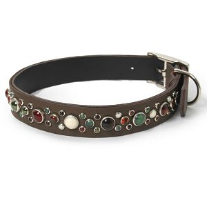 Mixed Stones on Dark Brown Leather Dog Collar