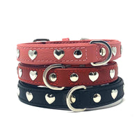 Hearts Leather Dog Collar