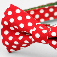 White Dots on Red Sea Dog Collar with Bow Tie - FINAL SALE