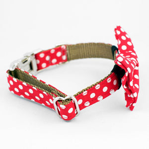 White Dots on Red Sea Dog Collar with Bow Tie