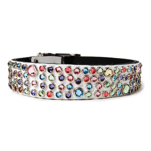 Multi Crystals on White Leather Dog Collar