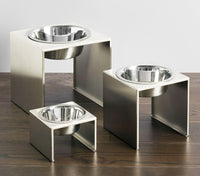 Slate Stainless Steel Single and Double Diner Pet Feeder