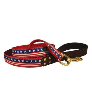 Stars and Stripes Nylon and Leather Dog Leash