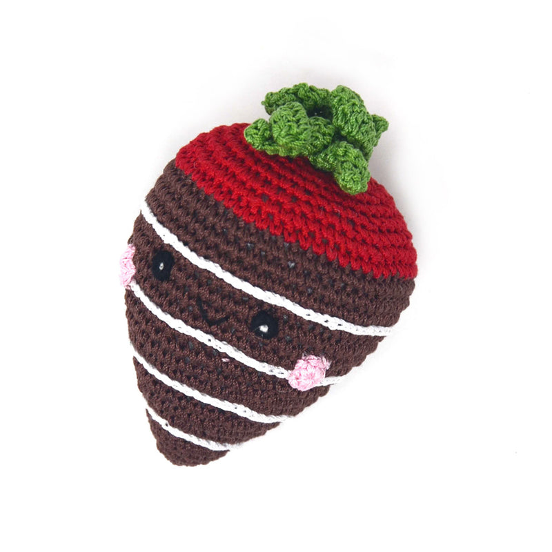 Knit Chocolate Dipped Strawberry Dog Toy