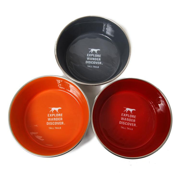 Explore Wander Discover Stainless Steel Dog Bowl