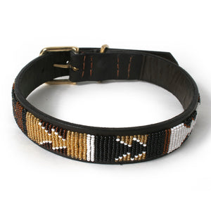 Beaded Earth Leather Dog Collar