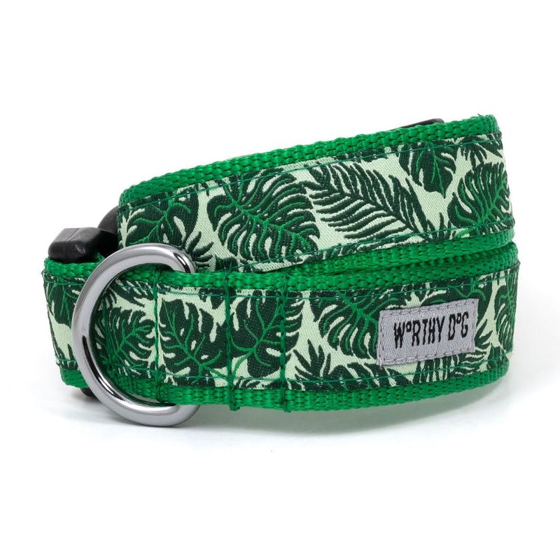 Tropical Leaves Dog Collar