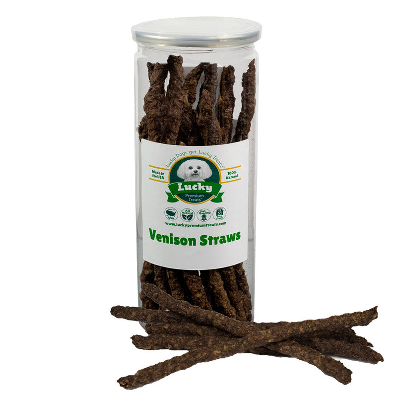 Lucky Brand Venison Jerky Straw Dog Treat