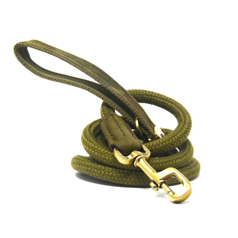 Military Green Nylon and Rope Dog Leash