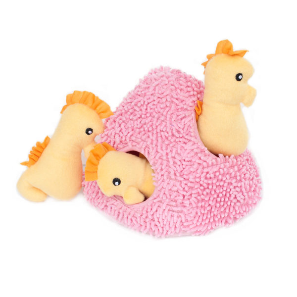 Seahorse and Coral Burrow Dog Toy