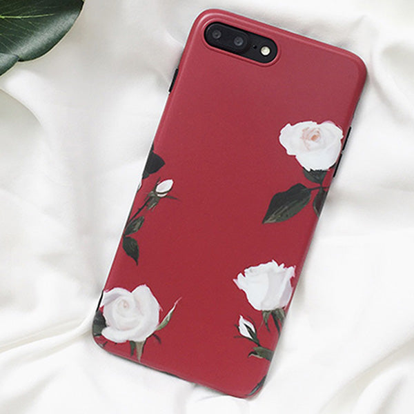 White Rose Design iPhone Case