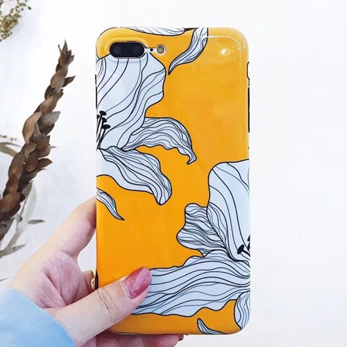 Artistic Flower Design Yellow iPhone Case