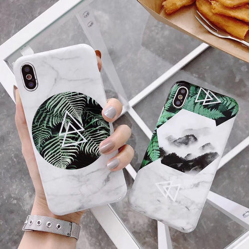 Marble Leaf Phone Case For iphone