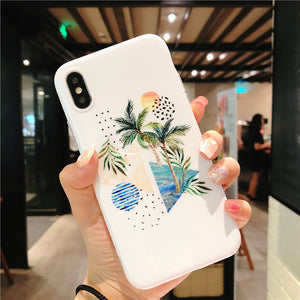 Unique Phone Case with Geometric Figures and Leafs
