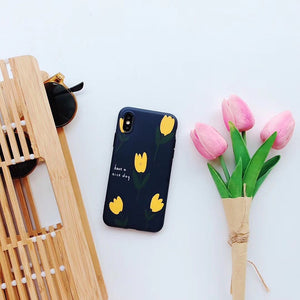 iPhone case with yellow tulip design