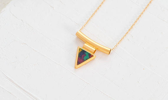 Colorful Geometric Necklace, Triangle Gold Necklace, Vintage Pendant Necklace, Unique Necklace, Women Gold Jewelry, Multicolor Pendant