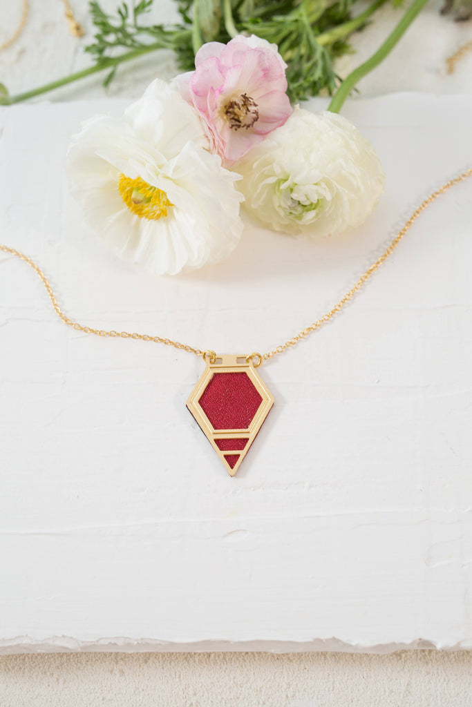 Long Gold Necklace, Diamond Shape Necklace, Gold Necklace, Red Wine Necklace, Bohemian Gold Jewelry, Unique Jewelry, Gift For Women