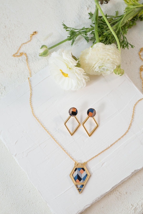 Gold Jewelry Set, Geometric Jewelry Set, Diamond Shape Necklace, Gold Stud Earrings, Bohemian Jewelry, Women Unique Jewelry, Gift For Her