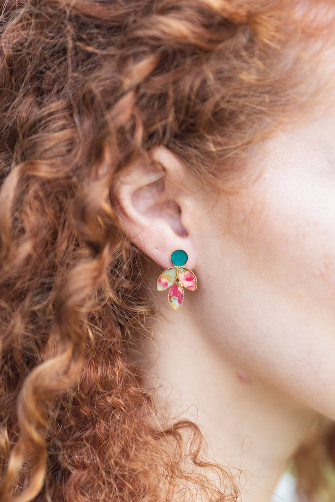 Colorful Leaf Earrings, Long Stud Earrings, Drop Earrings, Floral Earrings, Bridesmaid Jewelry, Vintage Chic Earrings, Gifts For Women