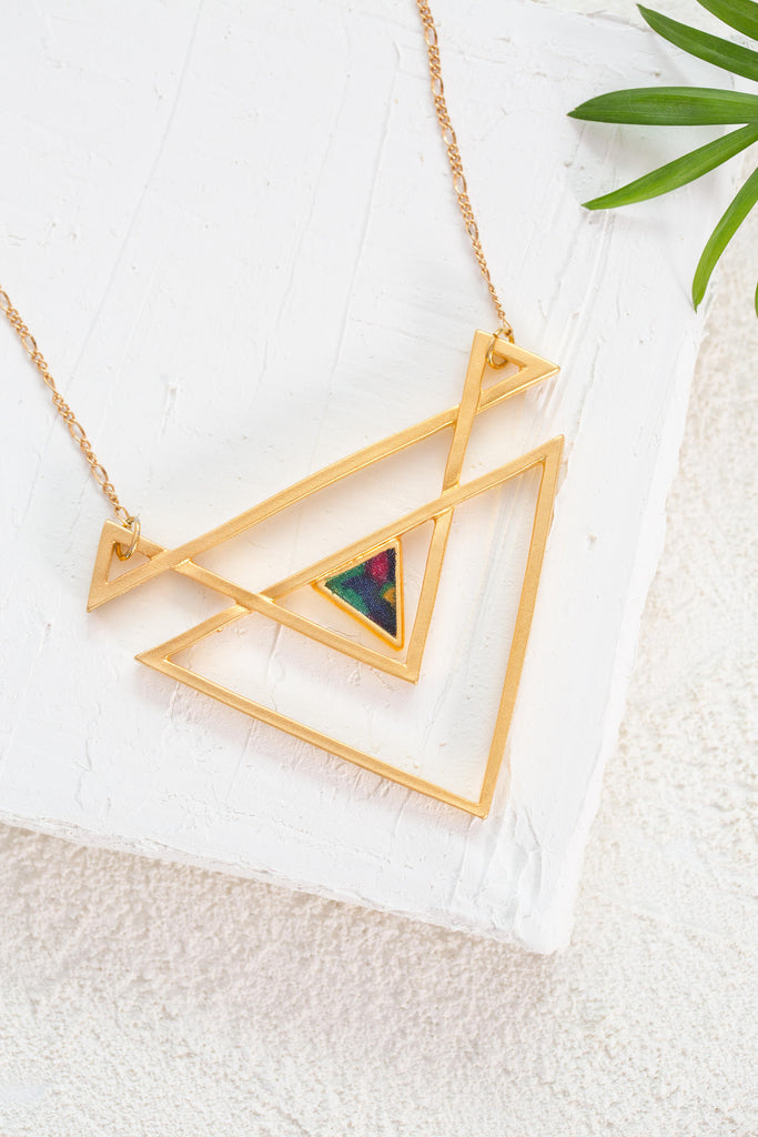Long Gold Triangle Geometric Statement Women Necklace